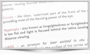 Laser Eye Surgery Glossary Image